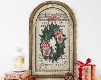 "Christmas Wreath Wall Decor | 14"" x 22"" | Xmas Arch Window Frame | Winter Wall Hanging | Farmhouse Xmas Decor |"