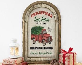 "Christmas Truck Wall Decor | 14"" x 22"" | Merry Christmas Wall Art | Winter Wall Hanging | Farmhouse Xmas Decor |"