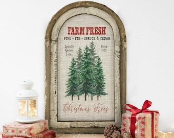 "Christmas Tree Farm Wall Decor | 14"" x 22"" | Arch Window Frame | Winter Wall Hanging | Farmhouse Xmas Decor |"