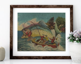 Fishing Linen Print for Framing, Florida Artwork