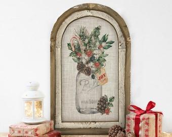 "Christmas Joy Wall Decor | 14"" x 22"" | Arch Window Frame | Winter Wall Hanging | Farmhouse Xmas Decor |"