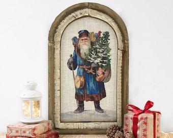 "Santa Wall Decor | 14"" x 22"" | Christmas Wall Art | Winter Wall Hanging | Farmhouse Xmas Decor |"