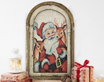 "Christmas Santa Wall Decor | 14"" x 22"" | Christmas Wall Art | Winter Wall Hanging | Farmhouse Xmas Decor |"