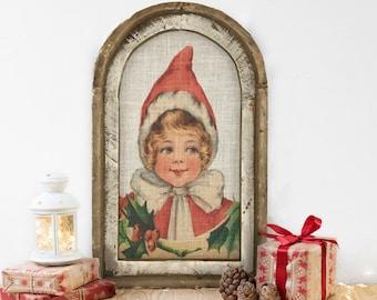 "Santa's Helper Wall Decor   14"" x 22""   Arch Window Frame   Winter Wall Hanging   Farmhouse Xmas Decor  "