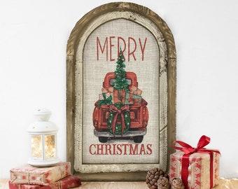 "Christmas Truck Wall Decor   14"" x 22""   Merry Christmas Wall Art   Winter Wall Hanging   Farmhouse Xmas Decor  "