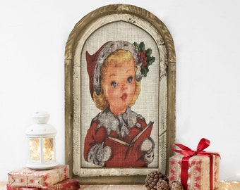 "Christmas Caroler Wall Decor | 14"" x 22"" | Arch Window Frame | Winter Wall Hanging | Farmhouse Xmas Decor |"