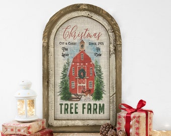"Christmas Tree Farm Wall Decor | 14"" x 22"" | Merry Christmas Wall Art | Winter Wall Hanging | Farmhouse Xmas Decor |"