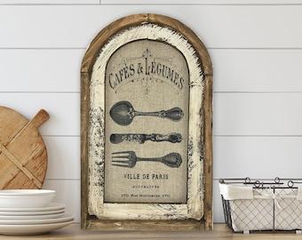 "Kitchen Wall Art | 14"" x 22"" | Arch Window Frame | Linen Wall Hanging |  Farmhouse Kitchen Decor |"