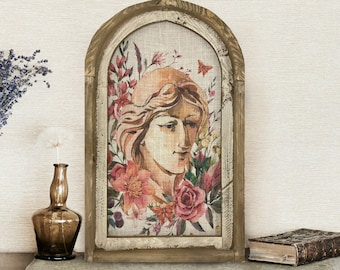 """Portrait Wall Art   14"""" x 22""""   Arch Window Frame   Bohemian Wall Hanging   Eclectic Decor   Library Room"""
