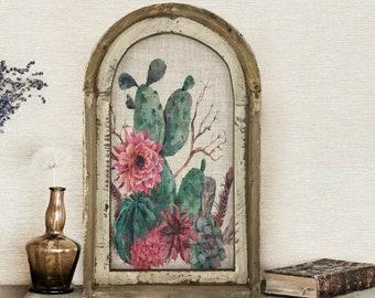 "Cactus Wall Art   14"" x 22""   Arch Window Frame   Bohemian Wall Hanging   Eclectic Decor"