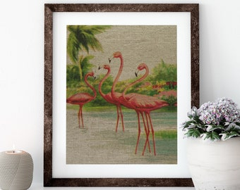 Flamingo Postcard Linen Print for Framing, Nautical Artwork