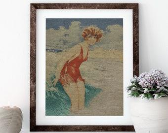 Bathing Suit Linen Print for Framing, Florida Artwork