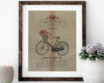 Floral Bike Linen Print for Framing, Bike Wall Art