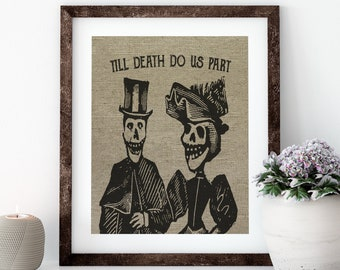 Till Death Do Us Part Linen Print for Framing, Wedding Wall Art