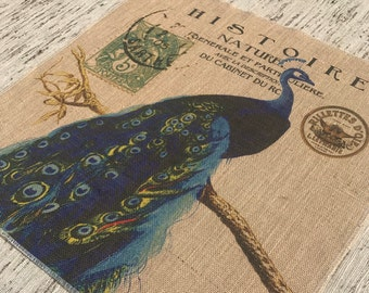 Peacock Burlap Panel, French Printed Fabric
