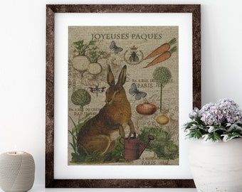 Easter Rabbit Linen Print for Framing, Natural History Artwork
