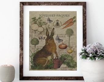 Easter Rabbit Linen Print for Framing, Natural History Artwork