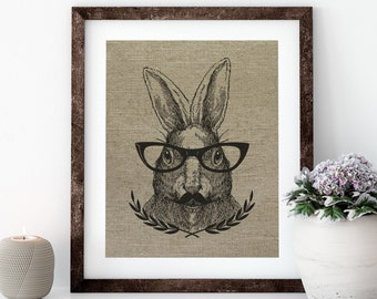 Hare Linen Print for Framing, Rabbit Wall Art