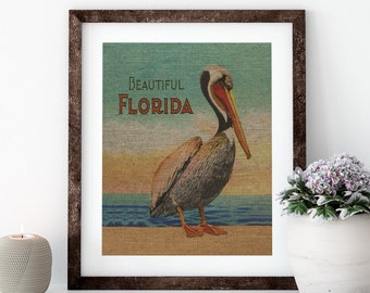 Florida Pelican Linen Print for Framing, Florida Artwork