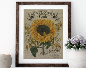 Sunflower Seeds Linen Print for Framing, Seed Label Artwork