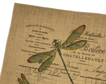 Dragonfly Burlap Fabric, Printed Fabric Panel for Upholstery and Framing