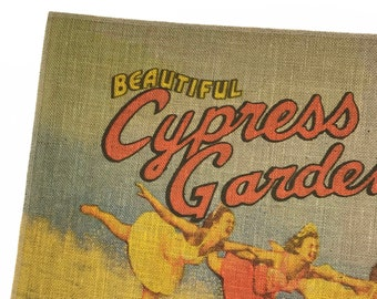 Cypress Gardens Burlap Fabric, Printed Fabric Panel for Upholstery and Framing