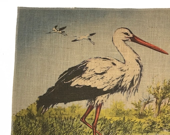 Heron Burlap Fabric, Printed Fabric Panel for Upholstery and Framing