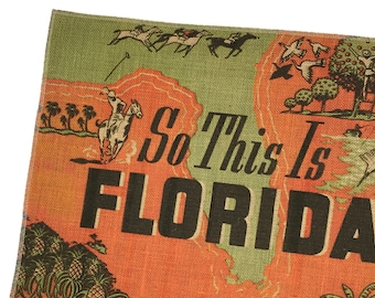 Florida Burlap Fabric, Printed Fabric Panel for Upholstery and Framing