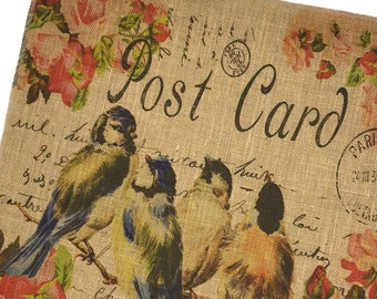 Birds Burlap Fabric, Printed Fabric Panel for Upholstery and Framing