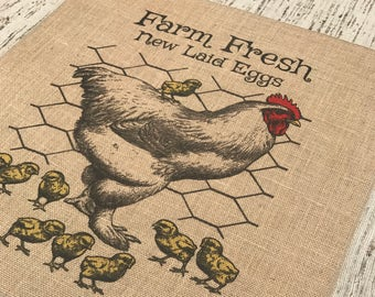 Chicken Burlap Panel, Farm Fresh Eggs Printed Fabric