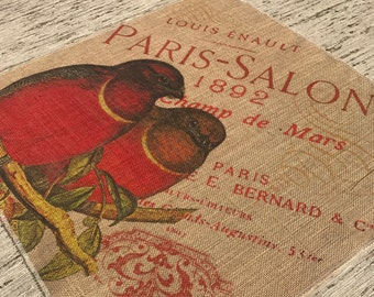 Red Birds Burlap Panel, French Printed Fabric