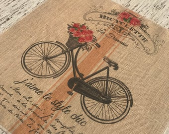 French Bike Burlap Panel, Striped Printed Fabric