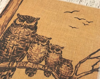 Owls Burlap Panel, Halloween Printed Fabric