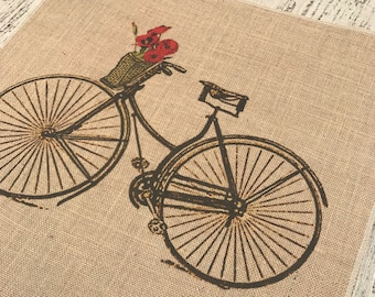 Bike Burlap Panel, Spring Printed Fabric