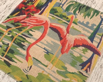 Flamingo Burlap Panel, Nautical Printed Fabric