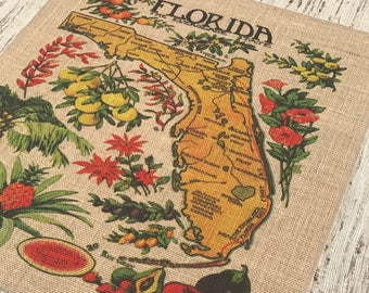 Florida Map Burlap Panel, Nautical Printed Fabric