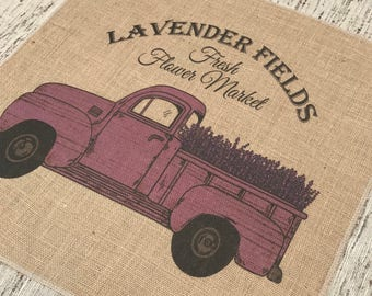 Lavender Truck Burlap Panel, Flower Market Printed Fabric