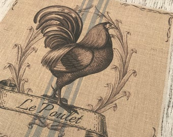 Chicken Burlap Panel, Grainsack Printed Fabric