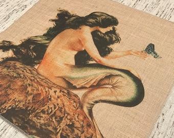 Mermaid Burlap Panel, Nautical Printed Fabric