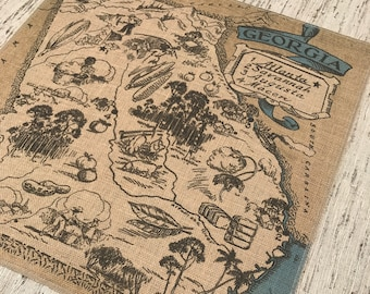 Georgia Map Burlap Panel, Printed Fabric