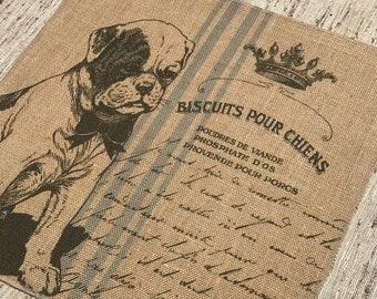 French Dog Burlap Panel, Postcard Printed Fabric