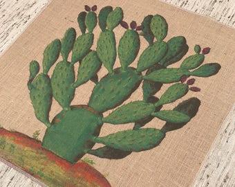 Cactus Burlap Panel, Succulent Printed Fabric