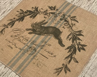 Rabbit Grainsack Burlap Panel, Reproduction Printed Fabric