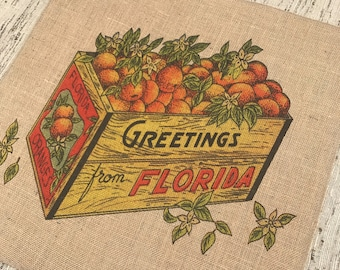 Florida Oranges Burlap Panel, Citrus Printed Fabric