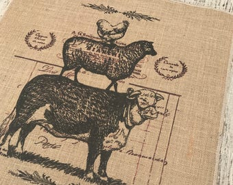 Farm Animals Burlap Panel, Farmhouse Printed Fabric