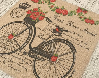Bike Burlap Panel, Flower Market Printed Fabric