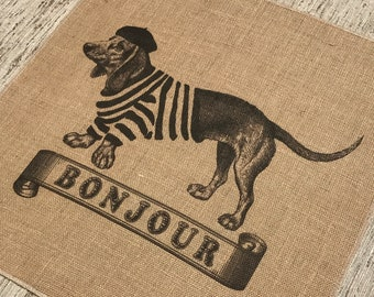Dog Grainsack Burlap Panel, Reproduction Printed Fabric