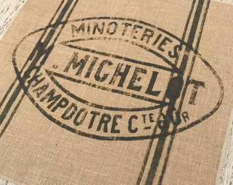 Grain Sack Burlap Panel, Reproduction Printed Fabric