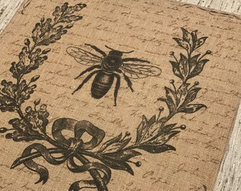 Bee Burlap Panel, French Printed Fabric