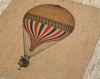 Air Balloon Burlap Panel, French Printed Fabric